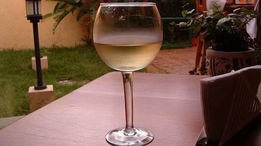Wine glass in back yard